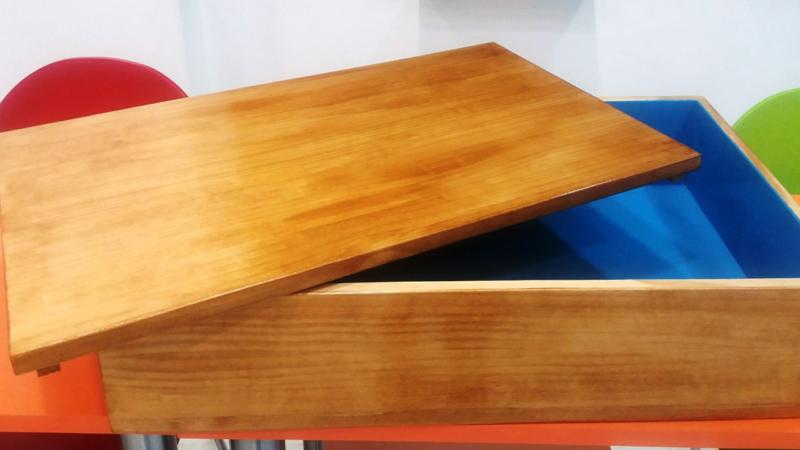 Caja de madera con tapa para la terapia de la Caja de arena